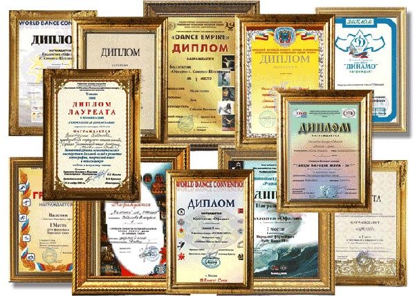 Дипломы Народного хореографического коллектива Офелия